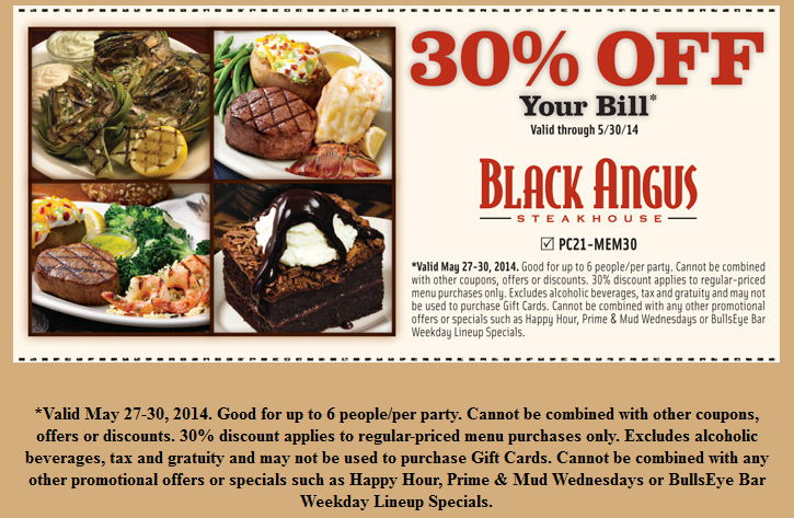 Black Angus Coupons Steakhouse Codes free