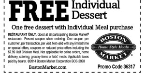 Boston Market Coupons - 2015  october
