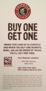 Chipolte Coupons - Print and Mobile febuary