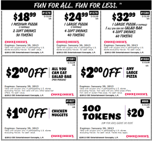 Chuck E Cheese coupons march 2015