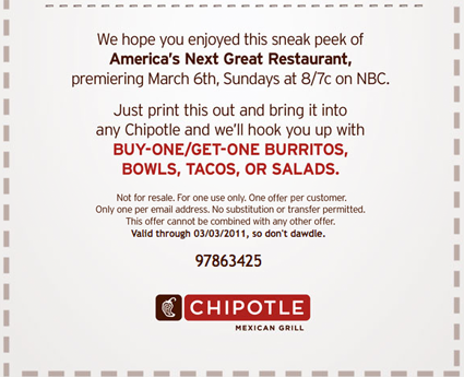picture regarding Chipotle Printable Menu identified as No cost printable Cell Chipotle-coupon (3) Printable