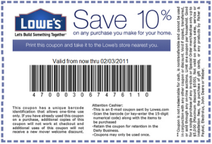 LOWES Save 10 coupons