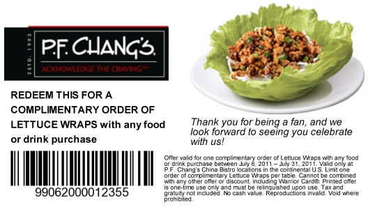 Pf changs coupon code