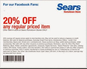 SEARS Coupons Febuary