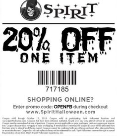 image about Spirit Halloween Coupon Printable named Spirit Halloween Discount coupons 2015 Printable Discount codes On the net