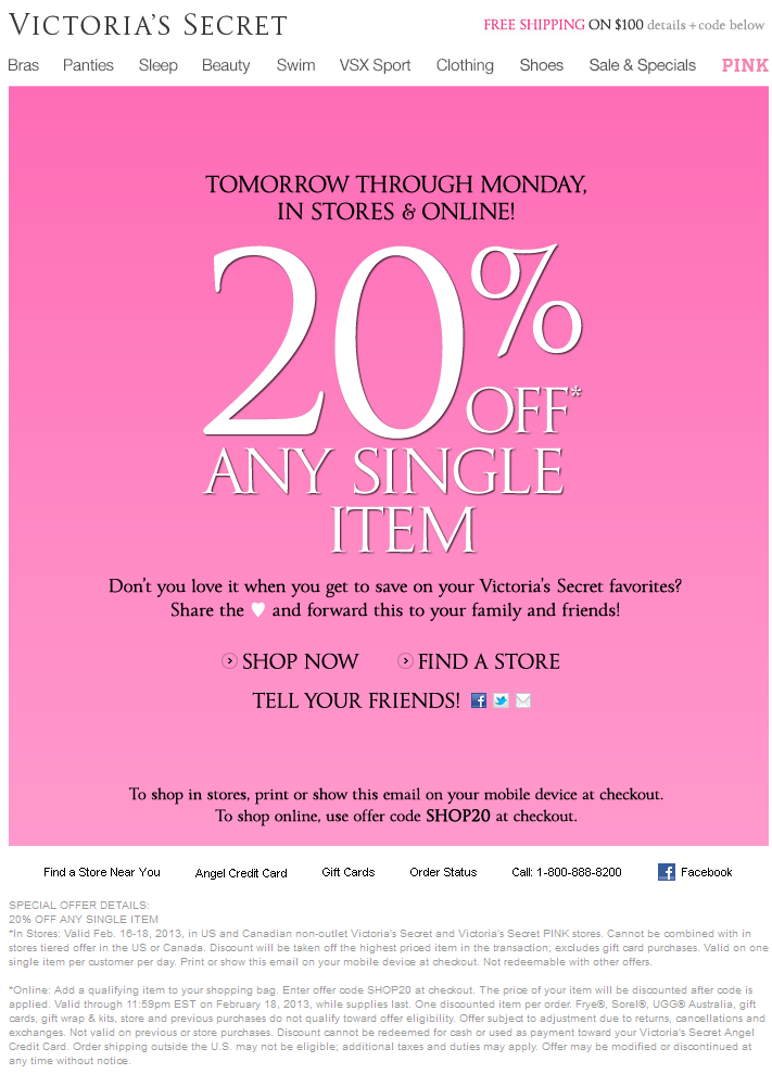 Victoria's Secret 10 off coupon code printable