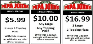 papa johns New Coupons  free pizza