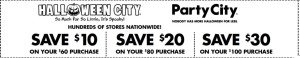 party city coupons halloween 2015