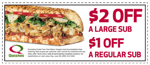 2 for one bogo quiznos coupons - printable  (2)