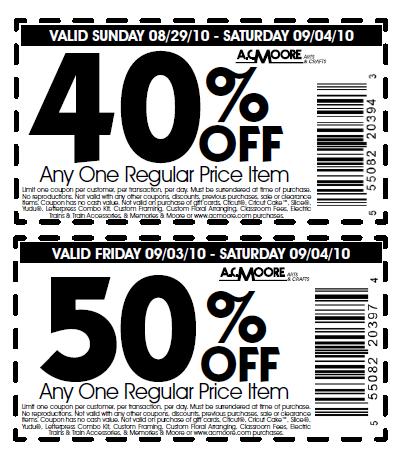 Oct 04,  · My Michaels, AC Moore, and Joanns allow printed coupons from competitors. Reply. Anonymous on July 19, at am. Printable Coupons In Store & Coupon Codes coupon take discount off the highest or lowest priced item?/5().