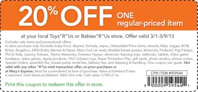 photograph about Baby Depot Printable Coupons identify Toddlers R Us Printable Coupon codes 20 per cent off price savings 2015 (1