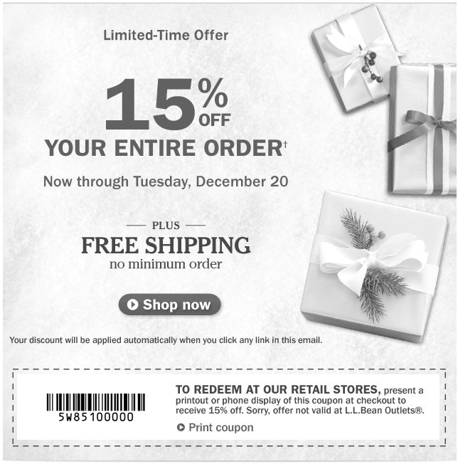 image relating to Llbean Printable Coupon referred to as L.L.Bean-Printable-Coupon-15-Off Printable Coupon codes On line