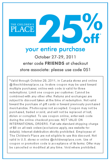Children's place in store coupon code