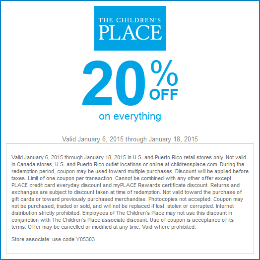 Children's place coupon code november 2018