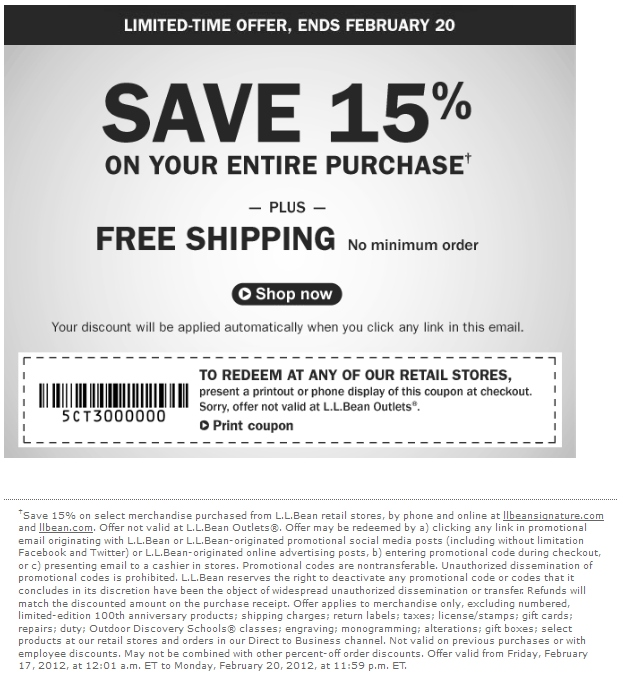 Ll bean coupon code