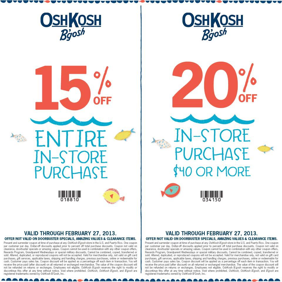 photo about Osh Coupons Printable referred to as Clean OshKosh-Bgosh-Printable-Discount codes for kid and todler (1