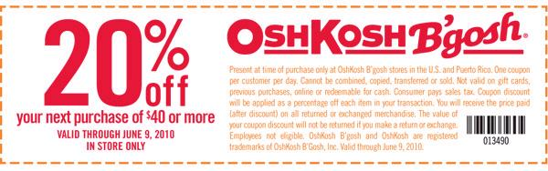 image relating to Oshkosh Printable Coupon called Clean OshKosh Bgosh Discount codes Printable Discount coupons On-line