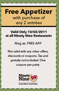 The 99 Restaurants Coupons and Printable coupon (1)