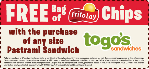 Togos Chips Coupons free