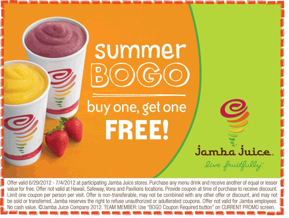 graphic regarding Jamba Juice Printable Coupon identified as no cost fresh Jamba Juice Printable Discount codes (2) Printable