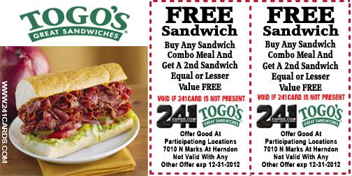 Togo's coupon code