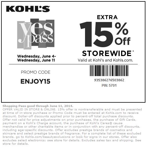 15 off new printable free kohls coupons