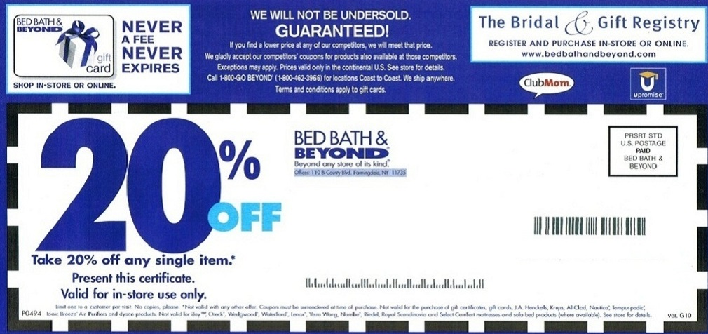 20 off Printable bed bath and beyond coupons