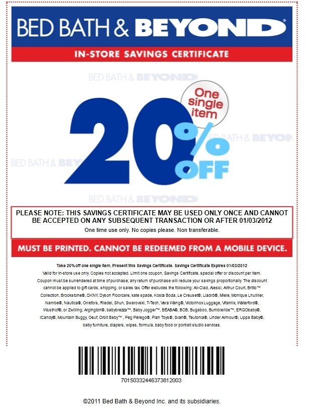 Bed Bath Coupon June