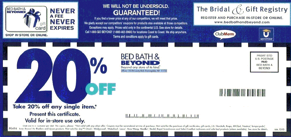 Bed Bath and Beyond Coupons 20-Off