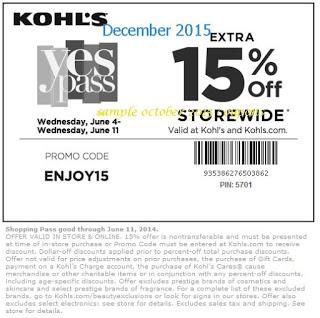 Kohls coupons december 2015
