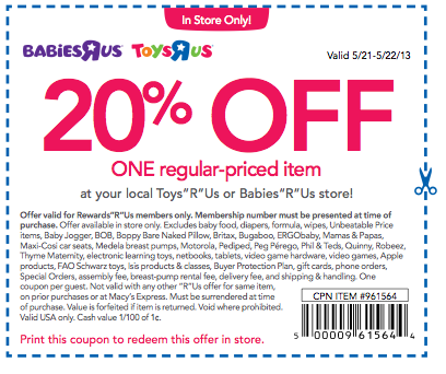 May ToysRUs Coupons & Promo Codes. All the current ToysRUs and BabiesRUs coupons and promo codes are unavailable right now. Please click through .