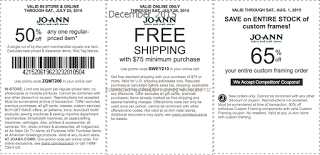 free Joann coupons for december 2015