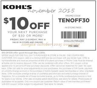 free Kohls coupons november 2015