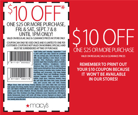 free new Macy's coupons 10 off 50 coupons 222