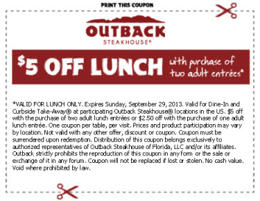 photo about Outback Coupons $10 Off Printable known as Outback steakhouse discount codes 2019
