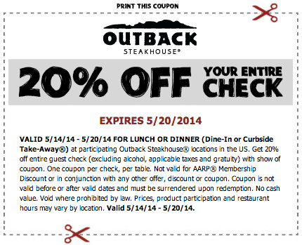 Save with 10 Outback Steakhouse coupons and sales for December, Today's top offer: 10% Off. Coupon Sherpa, #1 in coupons.