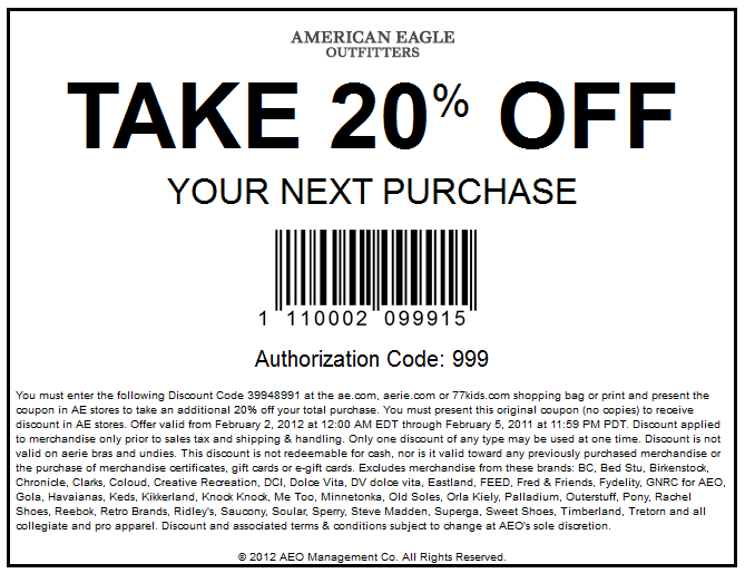 Apply an American Eagle promo code for up to 50% Off or one of these 42 coupons for big discounts in ! At Coupon Sherpa, we help you reach your savings peak.