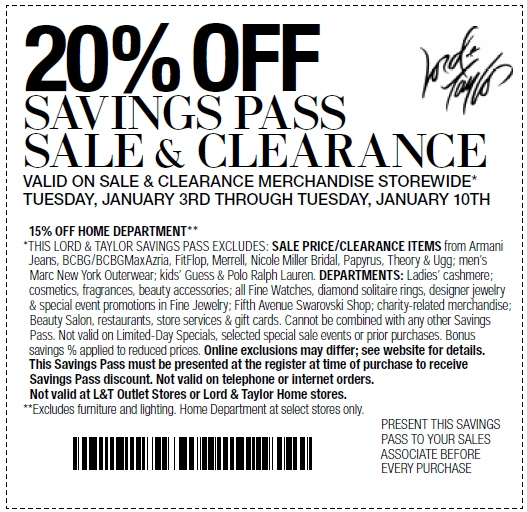 2015 printable Lord and Taylor Coupons