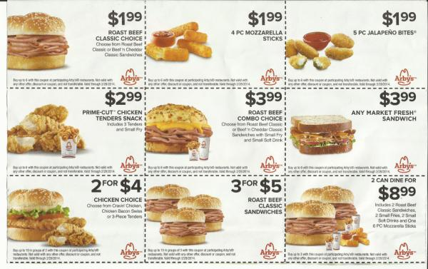 arbys coupons printable and mobile coupon codes 1