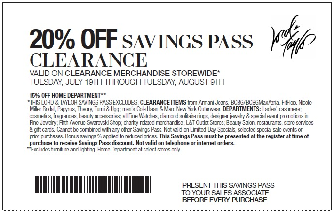 Past Lord & Taylor Coupon Codes