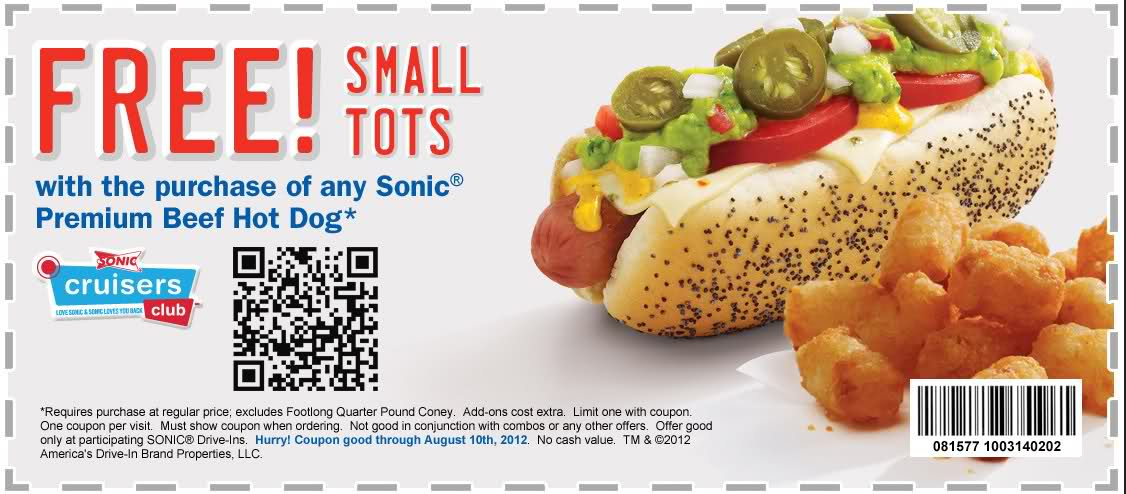 SONIC Burger Coupons - Free Tots (3)