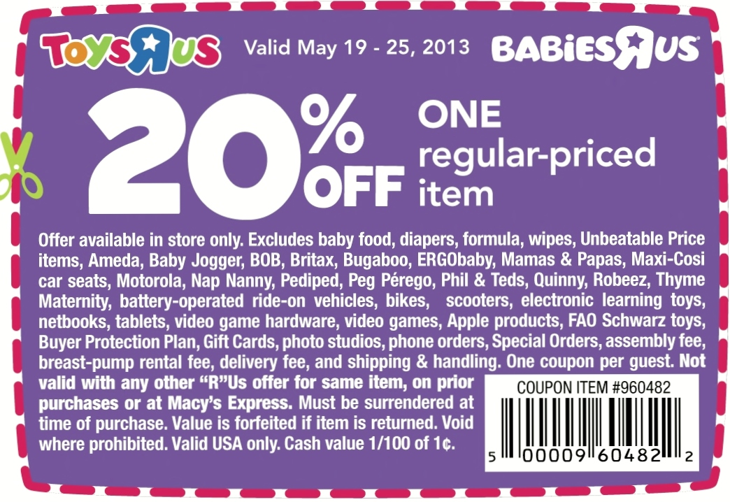 photograph relating to Printable Toys R Us Coupons identified as Toys-R-Us-Coupon-Code PrintableTOYS-r-us-discount codes-20-off 2015