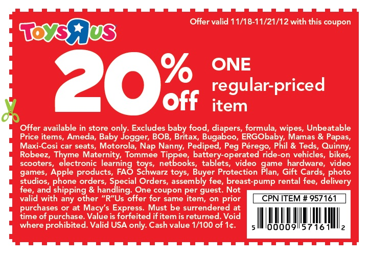 Toys R Us Coupons All Active Toys R Us Promo Codes & Coupons - Up To 25% off in December Toys R Us is the leading store for children's toys in the U.S. as well as a recognized toy and baby products retailer around the globe.5/5(1).