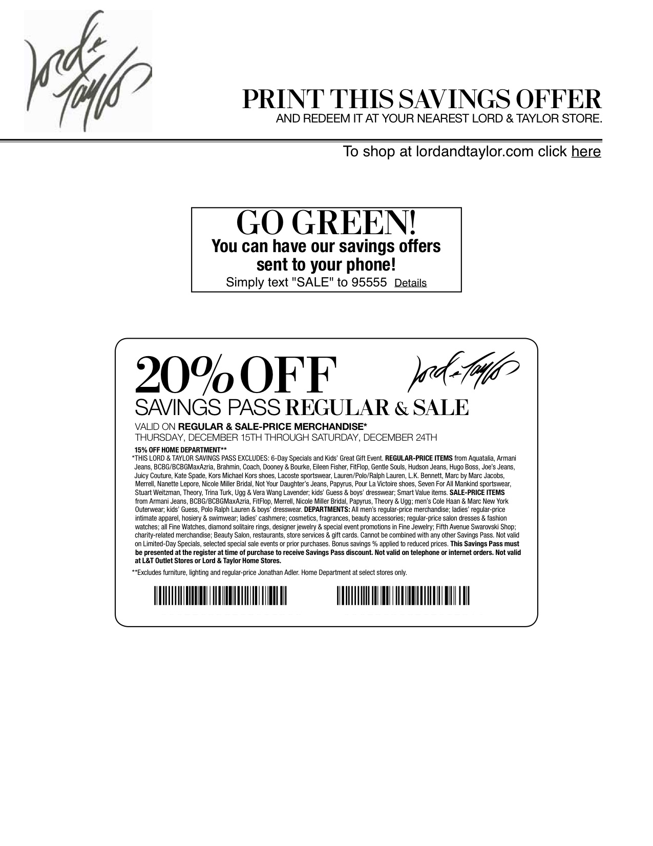 retail printable Lord and Taylor Coupons