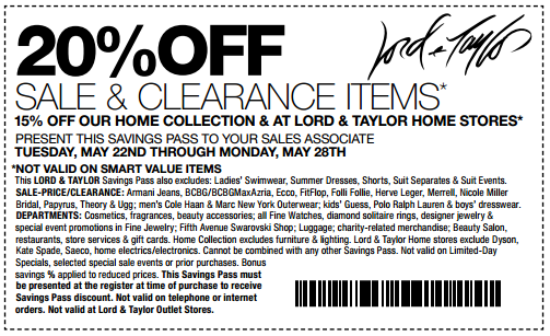 this months printable Lord and Taylor Coupons