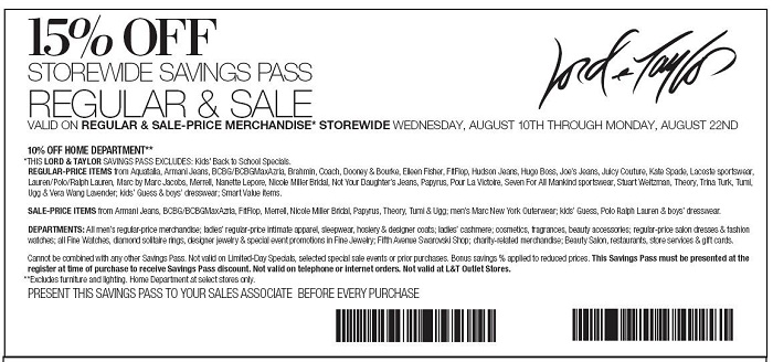 today printable Lord and Taylor Coupons