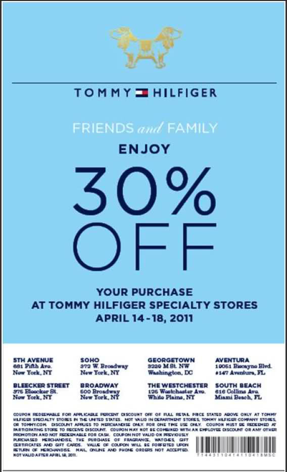 todays Tommy Hilfigure Coupons - In-Store Printable Coupons, Discounts