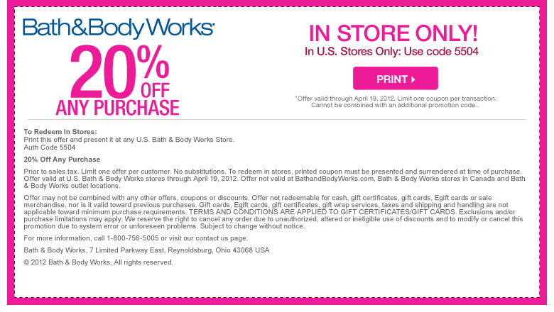 20 percent 50 off printbale bath and body works coupons