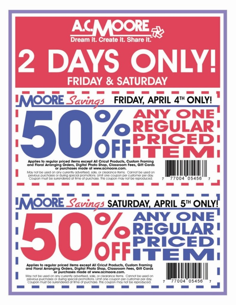 photo about Ac Moore Printable Coupon called 50 off coupon ac moore / Ultimate moment lodge promotions downtown disney