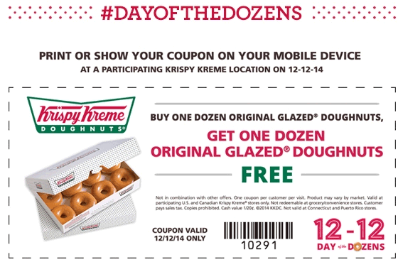 December_Krispy Kreme Printable coupons Krispy Kreme 2016